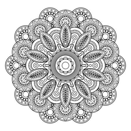 mendi: Doodle boho floral motif, coloring pages template. Vector illustration