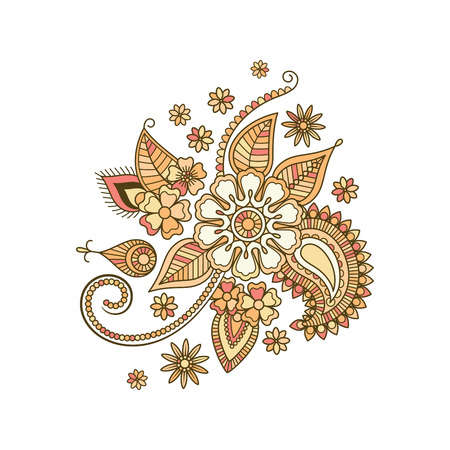 vector element: Beige colorful decorative floral isolated element. Vector illustration