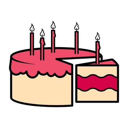 celebration party: Birthday party celebration cake icon. Vector illustration