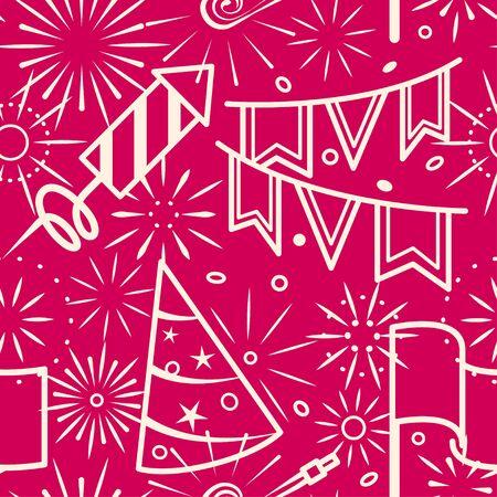 celebration party: Pink party celebration seamless background. Vector illustration Illustration