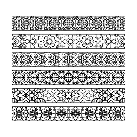 Black borders with arabic pattern. Vector illustration