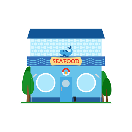 hong kong street: Seafood flat style icon isolated on white background. Vector illustration
