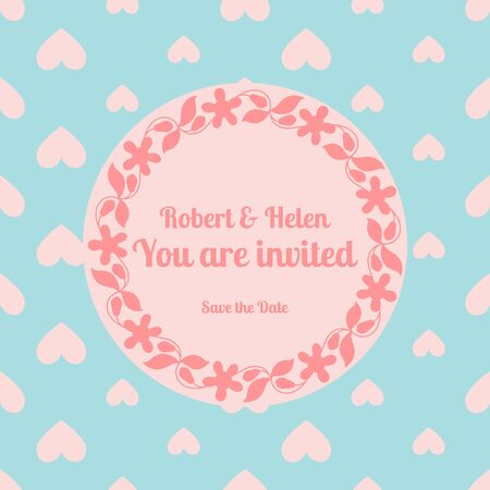 wed beauty: Wedding card template decorated cute pattern with floral frame. Vector illustration
