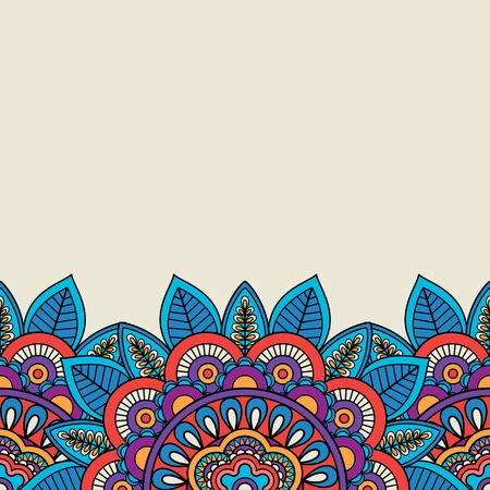 Doodle floral motifs and leaves border. Vector illustration Stock Photo
