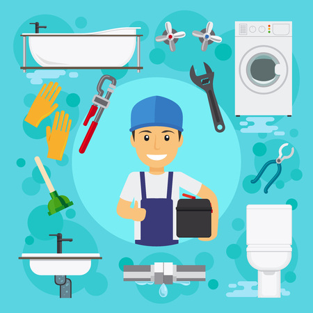 sanitary engineering: Sanitary engineering. Plumber at plumbing work with water drain vector illustration