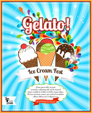 gelato: Ice Cream festival retro advertising. Gelato fest poster vector illustration Illustration