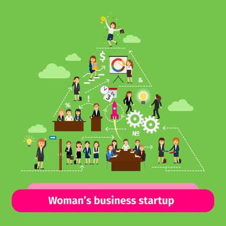 piramide humana: Las mujeres profesionales estructura empresarial. ilustración vectorial grupo de inicio Businesswomens Vectores