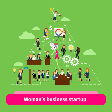 associates: Professional women business structure. Businesswomens startup group vector illustration
