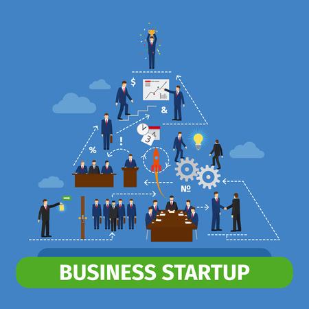 piramide humana: el trabajo en equipo de la pir�mide humana. La gente de negocios el �xito del equipo concepto de ilustraci�n vectorial