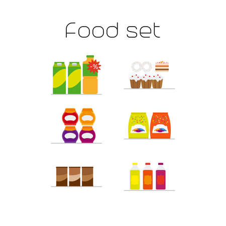 adult birthday party: Foods market flat icons set. Vector illustration