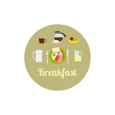 Breakfast food isolated icon set. Vector illustration