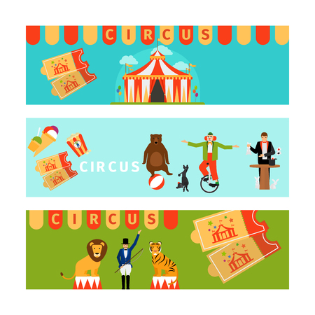 tightrope walker: Circus banners in modern flat style. Vector illustration Illustration