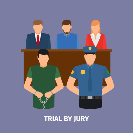 jurado: Concepto de la ley con el juicio con jurado. ilustración vectorial Vectores