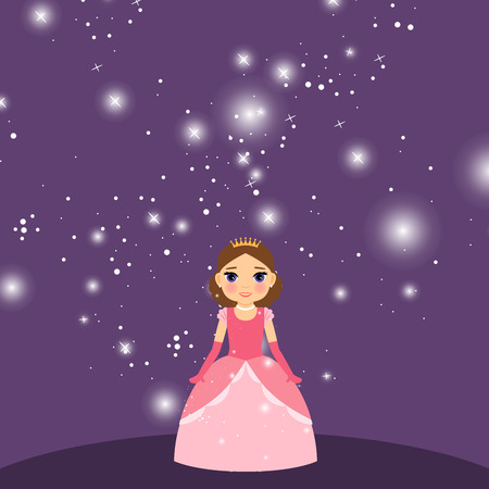cinderella shoes: Beautiful cartoon princess with lights on the violet background. Vector illustration