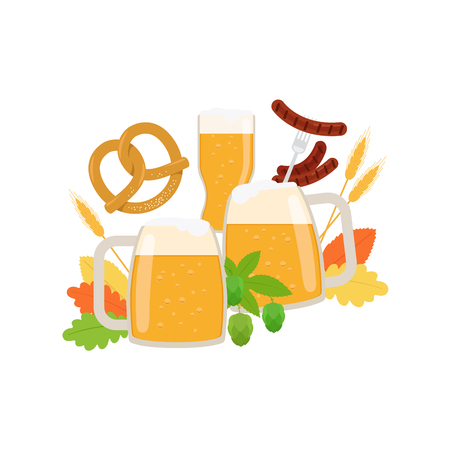 bbq barrel: Oktoberfest elements isolated on white. Vector illustration
