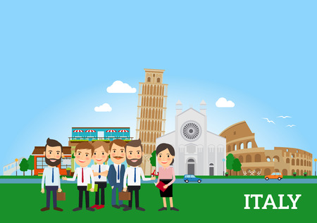 Business people in Italy with italian city background. Vector illustration