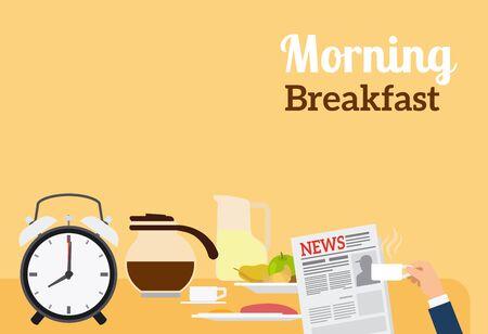 morning breakfast: Good Morning Breakfast Banner with sign on orange background. Vector illustration