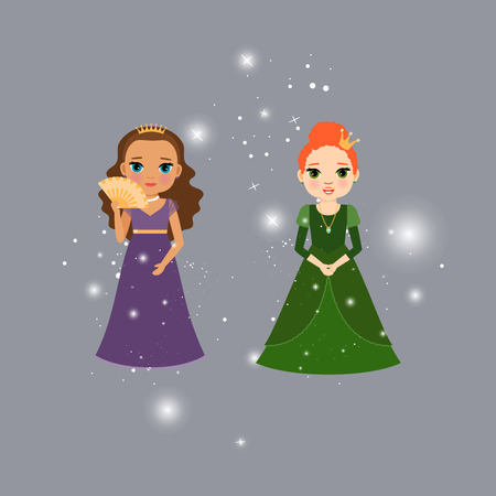 Beautiful princess characters with lights. Vector illustration Illustration