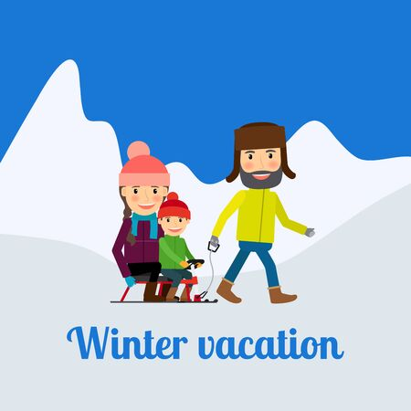Winter vacation, man with children. Vector illustration