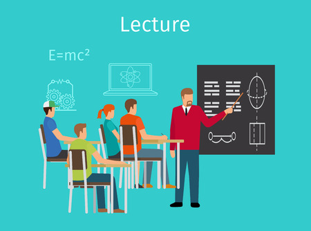 lectures: Education concept learning and lectures vector illustration