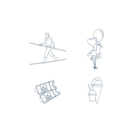 manege: Circus blue line art icons. Vector illustration