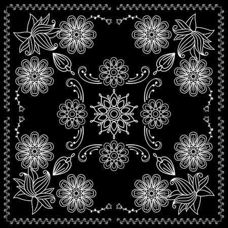 Black and White Bandana Print With Elements Henna Style. Vector illustration Illustration