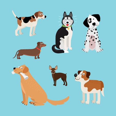 Vector cartoon happy dogs set. Vector illustration Illustration