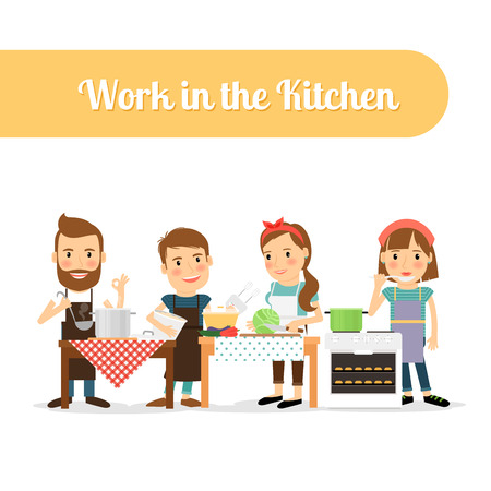 beginner: People in the kitchen cooking food. Vector illustration