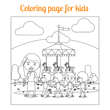 Coloring book page for kids with amusement park. vector illustration Illustration