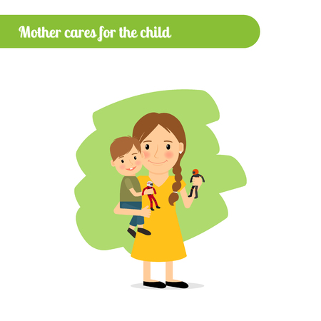 gently: Mother cares for the child, vector cartoon character