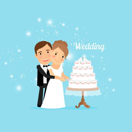 Bride and groom with wedding cake. Vector illustration