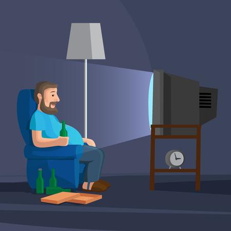 watching tv: Cartoon Man Watching TV with bottle of beer vector illustration