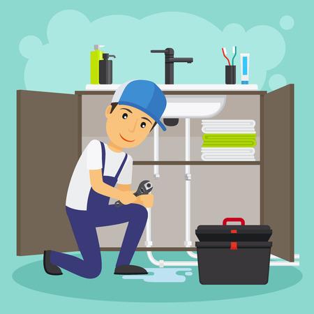 Fontanero y la ilustración vectorial servicio de fontanería. fuga de agua o la reparación de alcantarillado Ilustración de vector