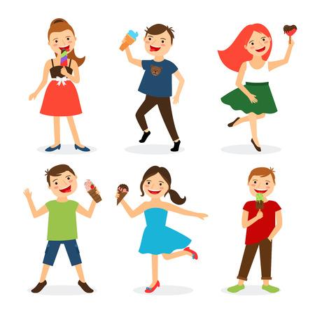 kids eating: Happy summer kids eating ice cream isolated on white background. Vector illustration Illustration