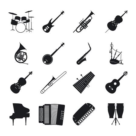 Musikinstrument Silhouetten für Jazz-Musik Vektor-Icons gesetzt