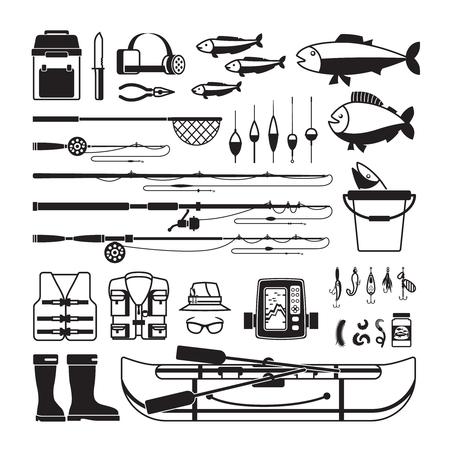 Angeln Vektor schwarze Symbole. Gerät und Köder, bobber und Fischer Kleidung