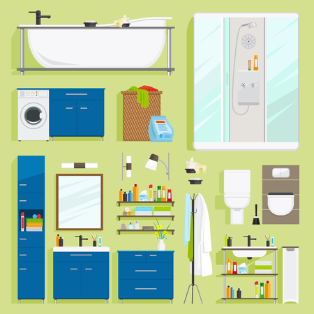 bathroom equipment: Bathroom equipment vector. Bath with shower, sink and toilet icons