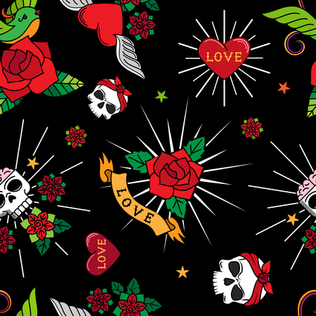 Funny old school tattoo seamless pattern. Tattooing vector background