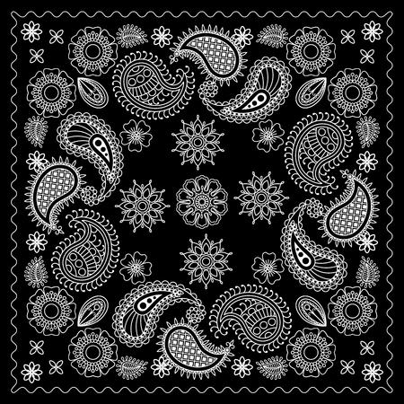 Black and White Bandana Print With Element Henna Style. Vector illustration