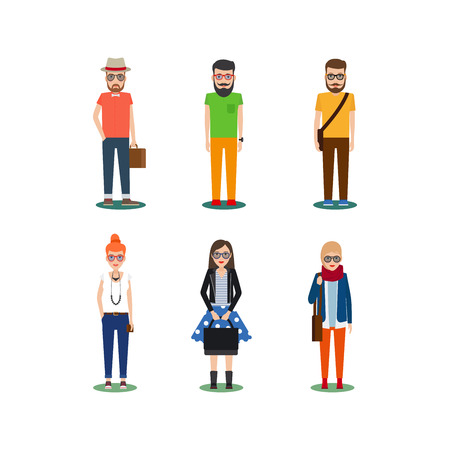 male teenager: Hipster girls and boys cartoon icons. Vector illustration