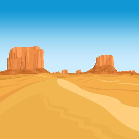 rocky road: Mountains desert vector landscape background with red rocks Illustration