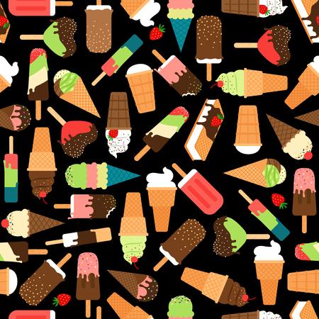icecream cone: Ice cream seamless pattern. Waffle icecream cone sweet background. Vector illustration
