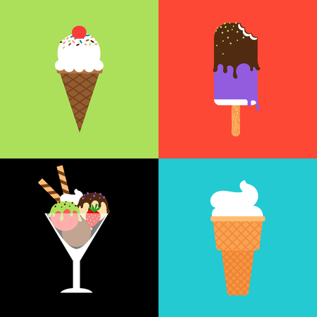 frozen dessert: Ice cream vector set. Ice cream in waffle cone, ice lollies and frozen dessert in glass bowl