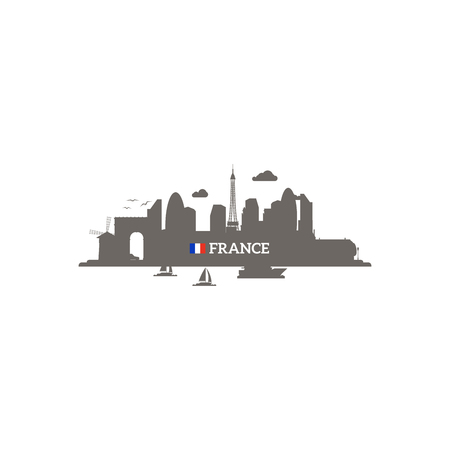st pauls: France skyline silhouette with name of country and flag. Vector illustration Illustration