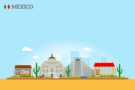 angel de la independencia: Mexico landmarks skyline colored illustration on sky blue background. Vector icon
