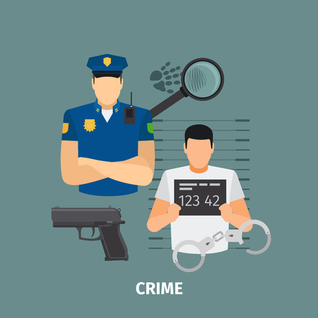Law concept with crime. Policeman and criminal vector illustration Illustration