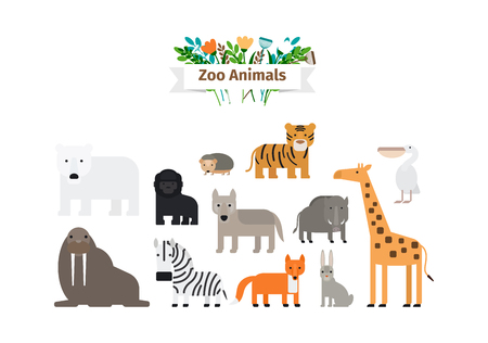 animaux du zoo: Zoo Animals Flat design Colorful Icons Vector Set