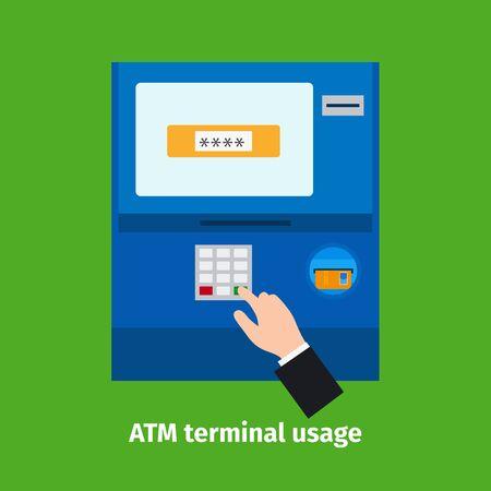 usage: Credit plastic card usage. ATM terminal vector illustration