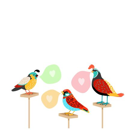 Song birds with speech bubbles and hearts. Vector illustration Illustration