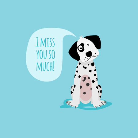 i miss you: Vector cartoon happy dog, card template with text I miss you soo much